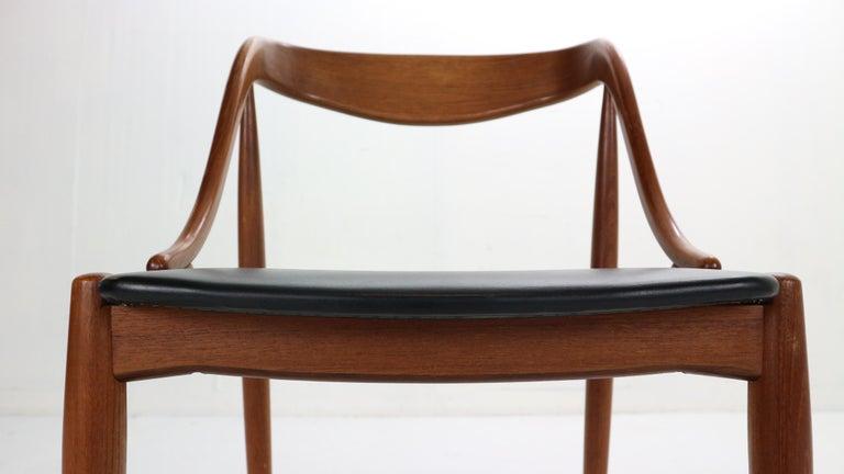 Johannes Andersen 6 Teak Dinning Chairs for Uldum Møbelfabrik, 1960s, Denmark For Sale 8