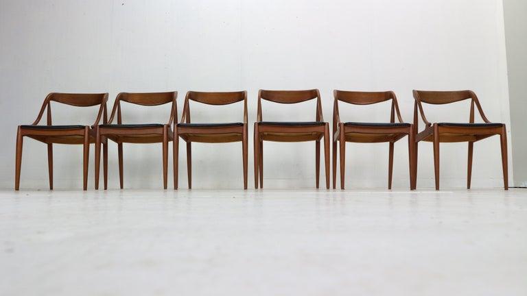 Danish Johannes Andersen 6 Teak Dinning Chairs for Uldum Møbelfabrik, 1960s, Denmark For Sale