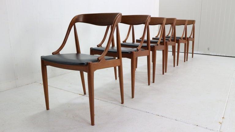 Mid-20th Century Johannes Andersen 6 Teak Dinning Chairs for Uldum Møbelfabrik, 1960s, Denmark For Sale