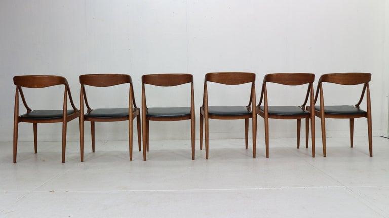 Faux Leather Johannes Andersen 6 Teak Dinning Chairs for Uldum Møbelfabrik, 1960s, Denmark For Sale