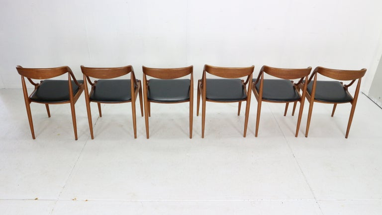 Johannes Andersen 6 Teak Dinning Chairs for Uldum Møbelfabrik, 1960s, Denmark For Sale 1