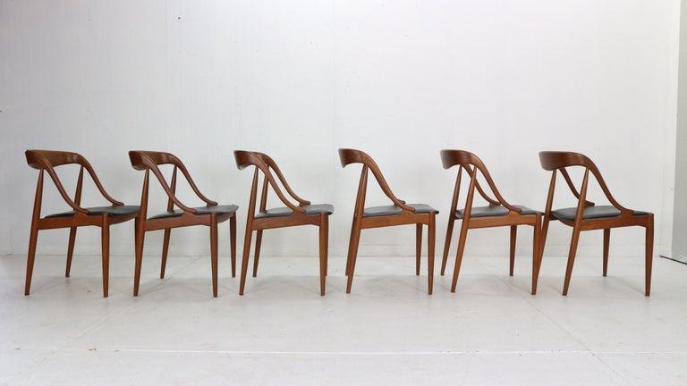 Johannes Andersen 6 Teak Dinning Chairs for Uldum Møbelfabrik, 1960s, Denmark For Sale 2
