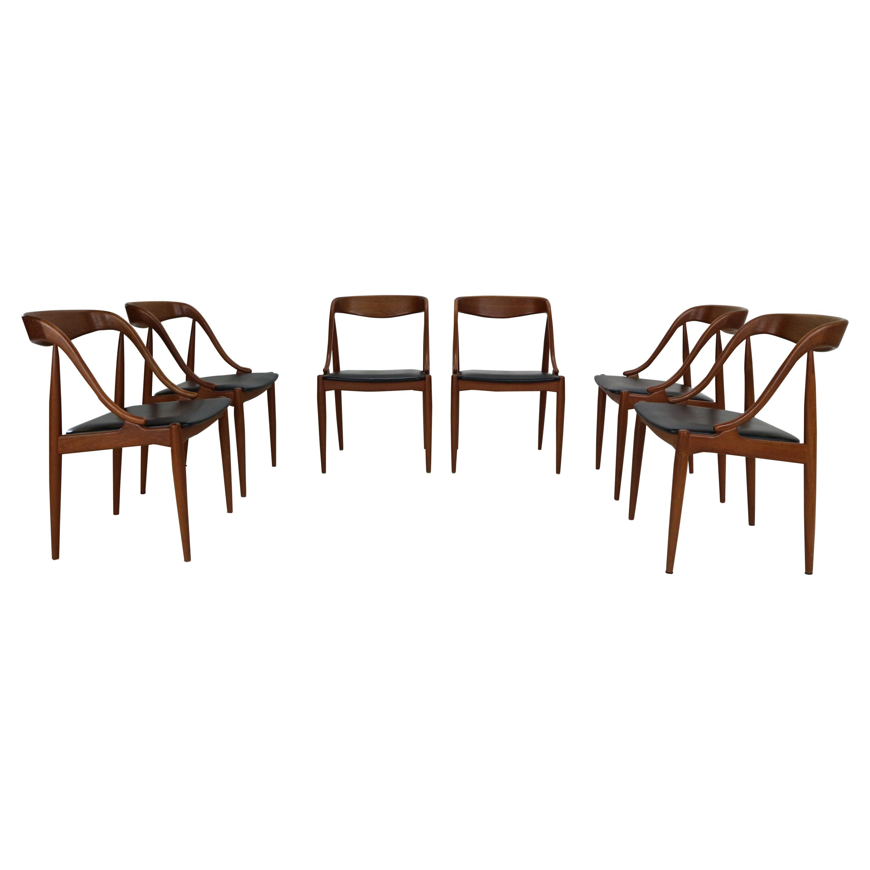 Johannes Andersen 6 Teak Dinning Chairs for Uldum Møbelfabrik, 1960s, Denmark