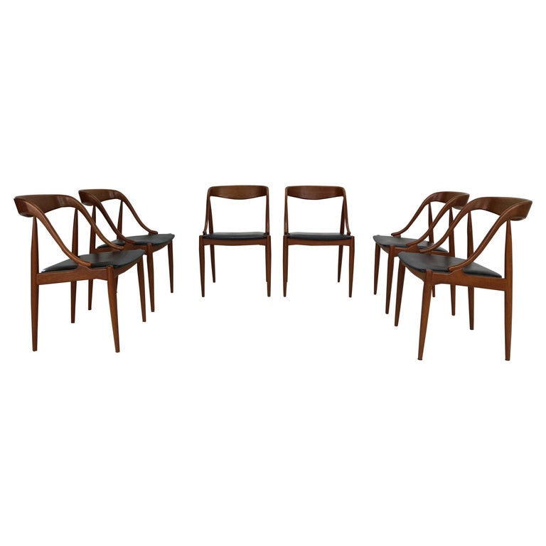 Johannes Andersen 6 Teak Dinning Chairs for Uldum Møbelfabrik, 1960s, Denmark For Sale