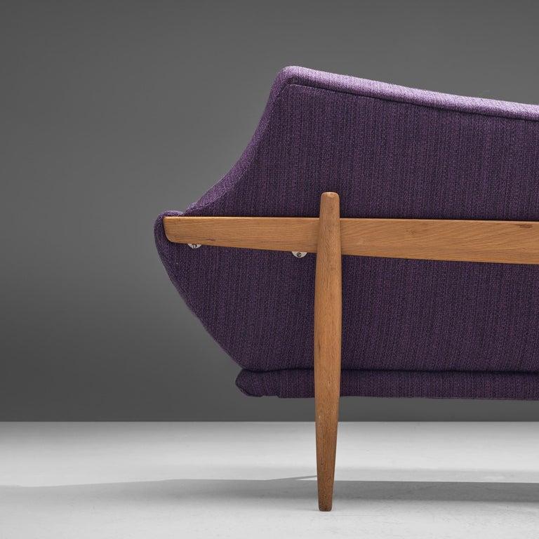 Scandinavian Modern Johannes Andersen Curved Sofa in Royal Purple Upholstery For Sale