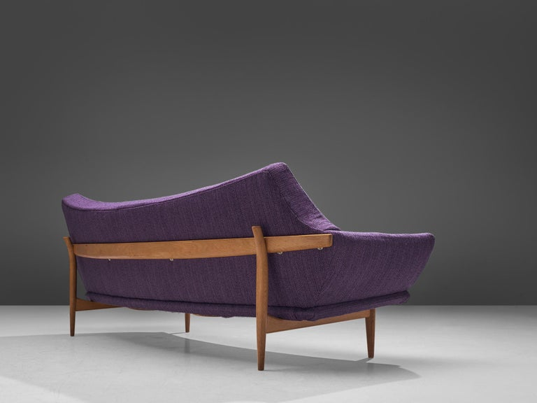 Johannes Andersen Curved Sofa in Royal Purple Upholstery In Good Condition For Sale In Waalwijk, NL