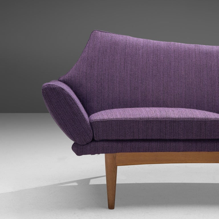 Mid-20th Century Johannes Andersen Curved Sofa in Royal Purple Upholstery For Sale