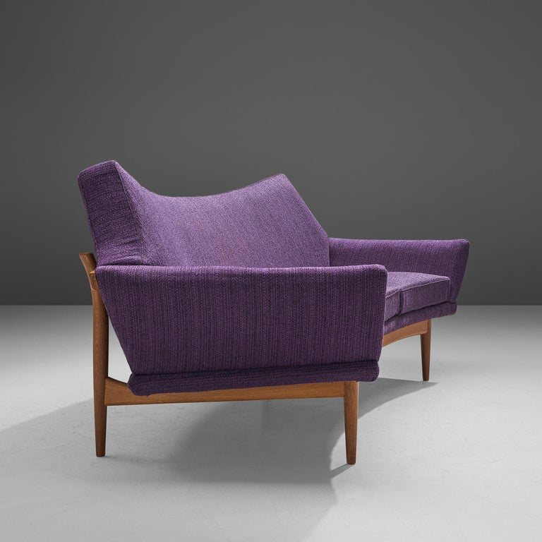 Johannes Andersen Curved Sofa in Royal Purple Upholstery For Sale 1