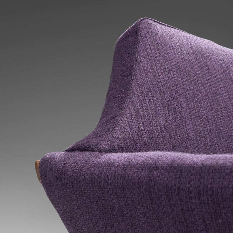 Johannes Andersen Curved Sofa in Royal Purple Upholstery For Sale 2