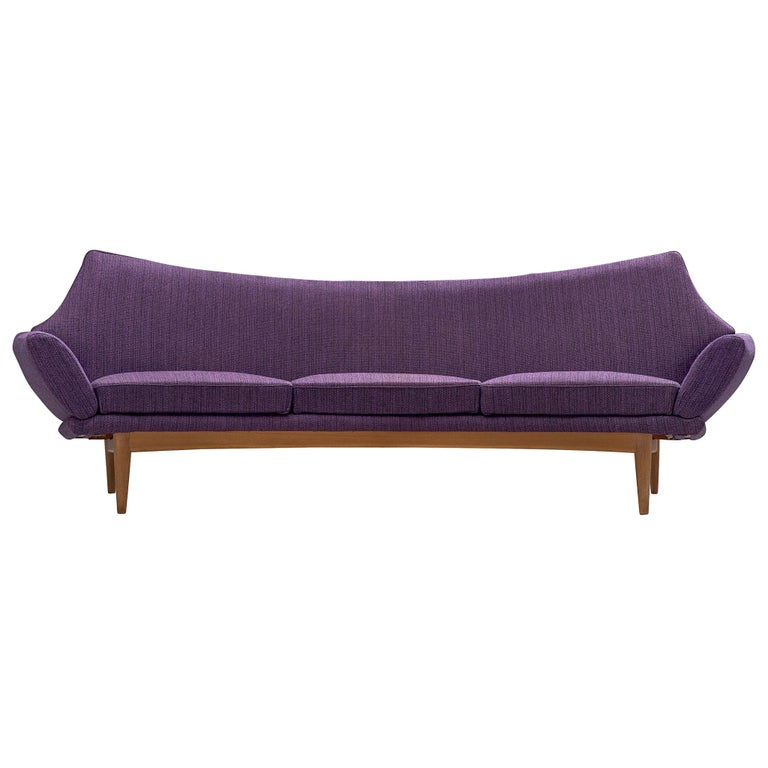 Johannes Andersen Curved Sofa in Royal Purple Upholstery For Sale