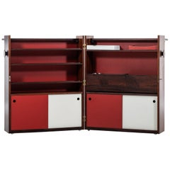 Johannes Andersen Folding Bar Cabinet Produced by Dyrlund in Denmark