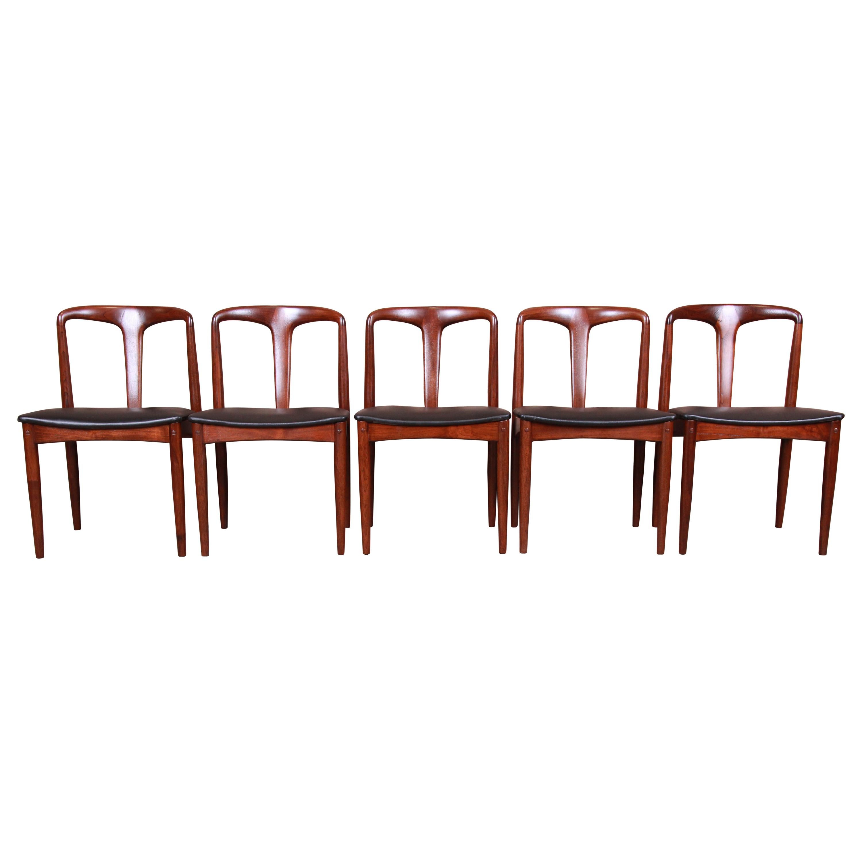 Johannes Andersen for Uldum Sculpted Teak Juliane Dining Chairs, Newly Restored
