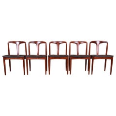 Johannes Andersen for Uldum Sculpted Teak Juliane Dining Chairs, Newly Restored