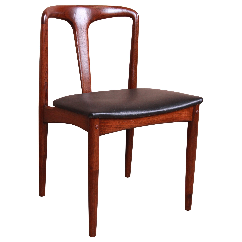 Johannes Andersen for Uldum Sculpted Teak Juliane Side Chair, Newly Restored
