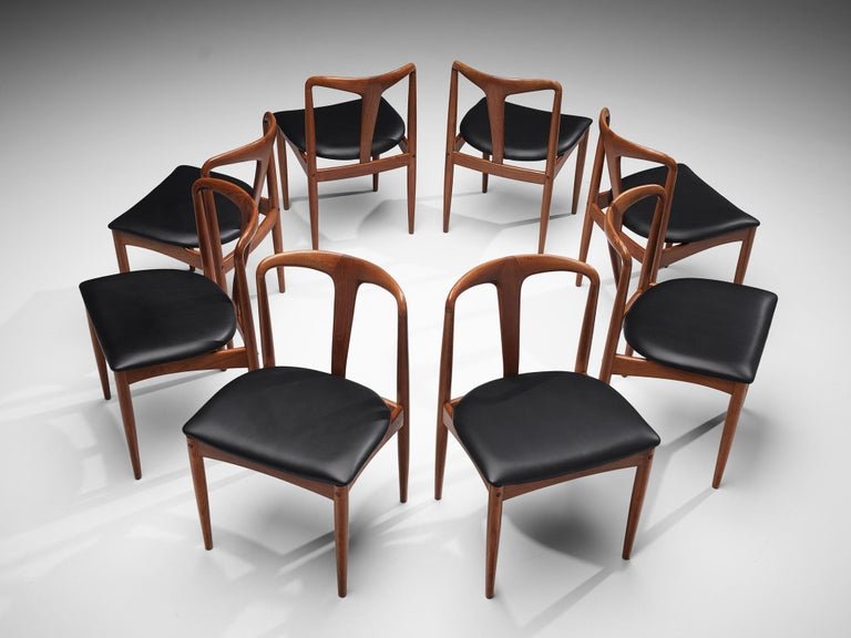 Fabric Johannes Andersen 'Juliane' Dining Chairs in Teak For Sale