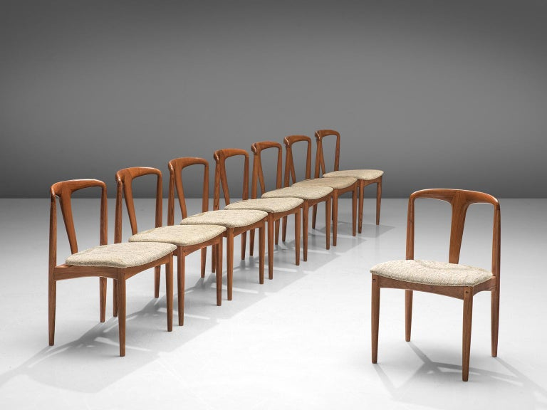 Danish Johannes Andersen 'Juliane' Set of Eight Dining Chairs in Teak For Sale