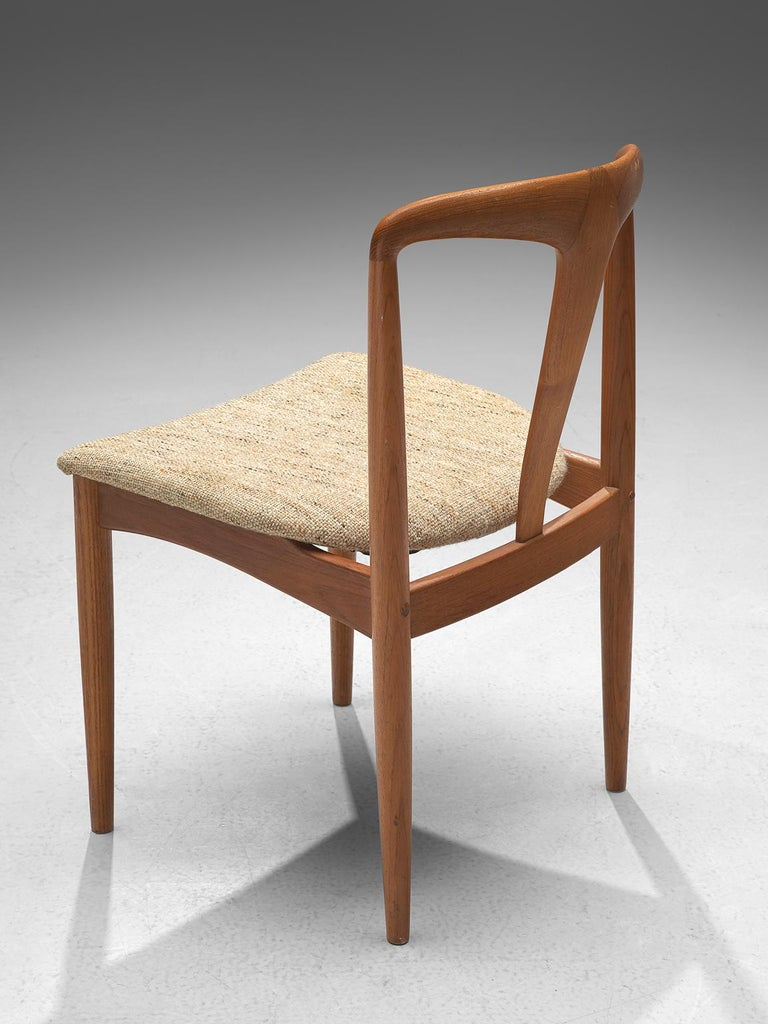 Fabric Johannes Andersen 'Juliane' Set of Eight Dining Chairs in Teak For Sale