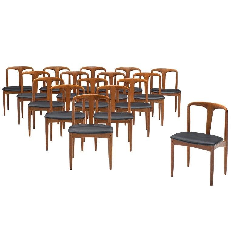 Johannes Andersen Large Set 'Juliane' Dining Chairs in Teak