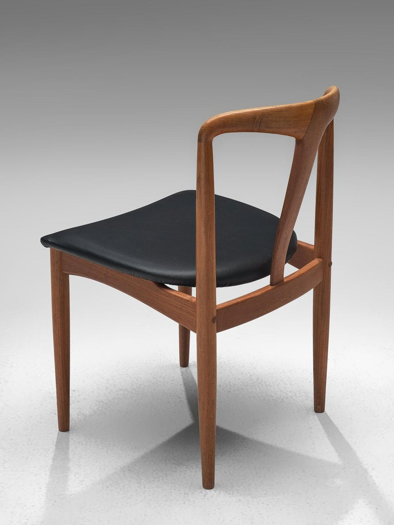 Fabric Johannes Andersen Large Set 'Juliane' Set Dining Chairs in Teak For Sale