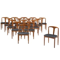 Johannes Andersen Large Set of Customizable 'Juliane' Dining Chairs in Teak