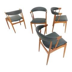 Johannes Andersen Midcentury Dining Chairs Teak & Black Vinyl, 1960s