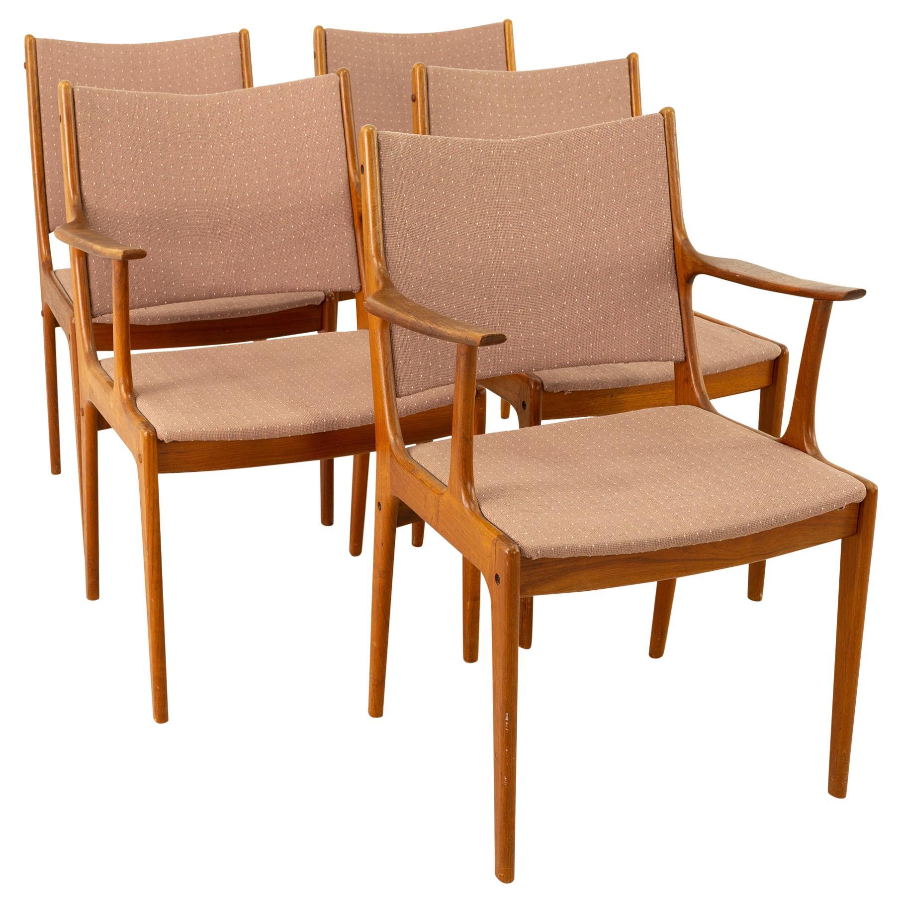 Johannes Andersen for Uldum Mobelfabrik Teak Dining Chairs, Set of 5