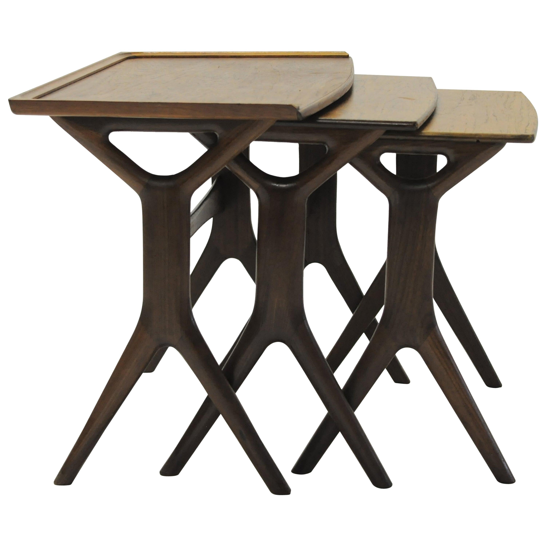 Johannes Andersen Refinished Set of Danish Teak Nesting Tables by CFC Silkeborg