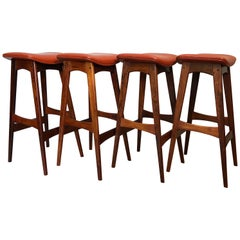 Johannes Andersen Rosewood Bar Stools, Set of 4