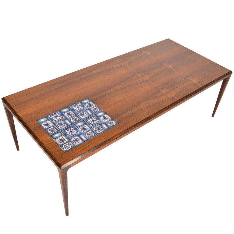Johannes Andersen Rosewood Coffee Table With Tile For Sale At 1stdibs