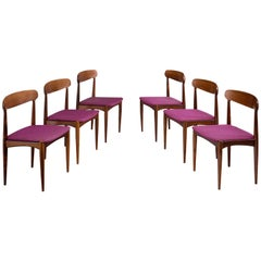 Johannes Andersen Set of Six Dining Chairs in Rosewood