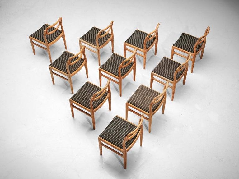 Danish Johannes Andersen Set of Ten Dining Chairs in Oregon Pine For Sale