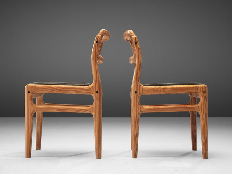 Fabric Johannes Andersen Set of Ten Dining Chairs in Oregon Pine For Sale