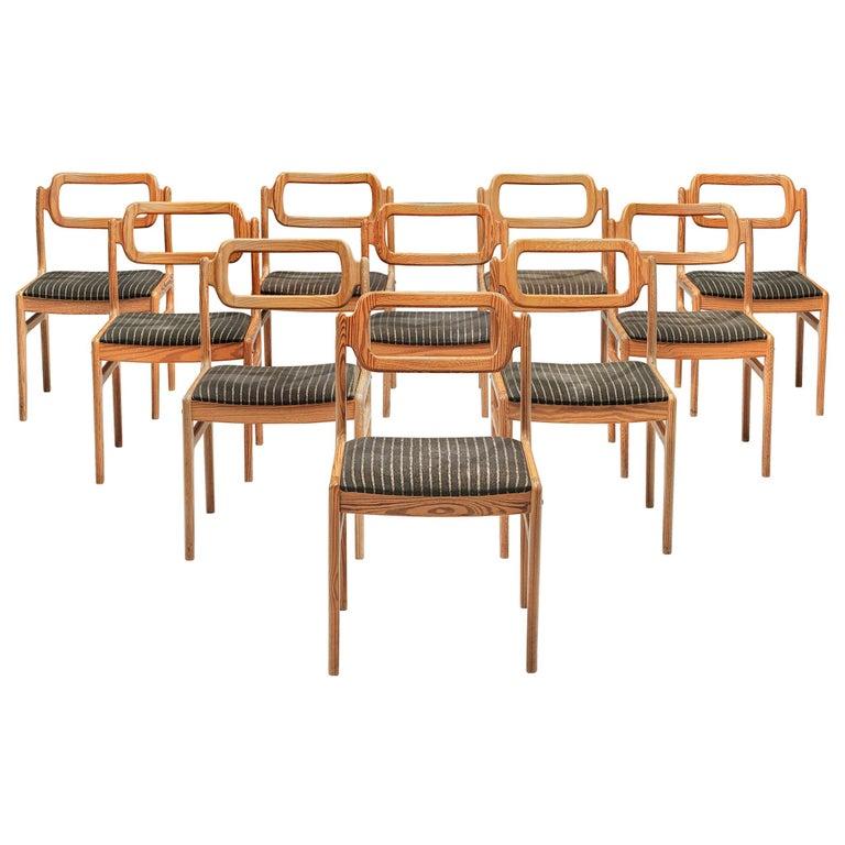 Johannes Andersen Set of Ten Dining Chairs in Oregon Pine For Sale