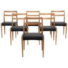 Johannes Andersen Six Dining Chairs, Model Anna, Oak and Leather Upholstery