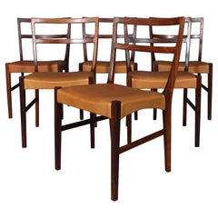 Johannes Andersen Six Dining Chairs, Rosewood and Leather Upholstery