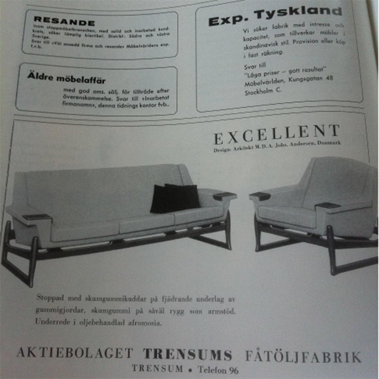 Johannes Andersen Sofa Set, AB Trensums, Mid-Century Modern, Scandinavian Design For Sale 13