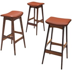 Johannes Andersen Three Barstools in Rosewood and Leatherette