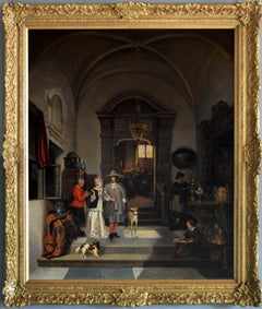 19th Century genre historical oil painting of an auction