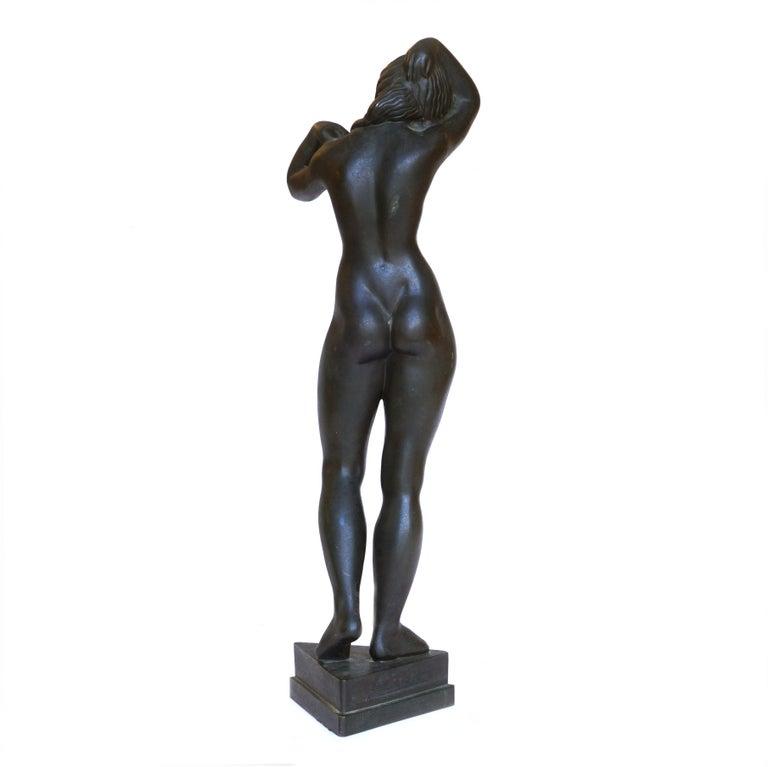 Danish Johannes C. Bjerg Modern Bronze Stauette of a standing Woman, Designed 1916 For Sale