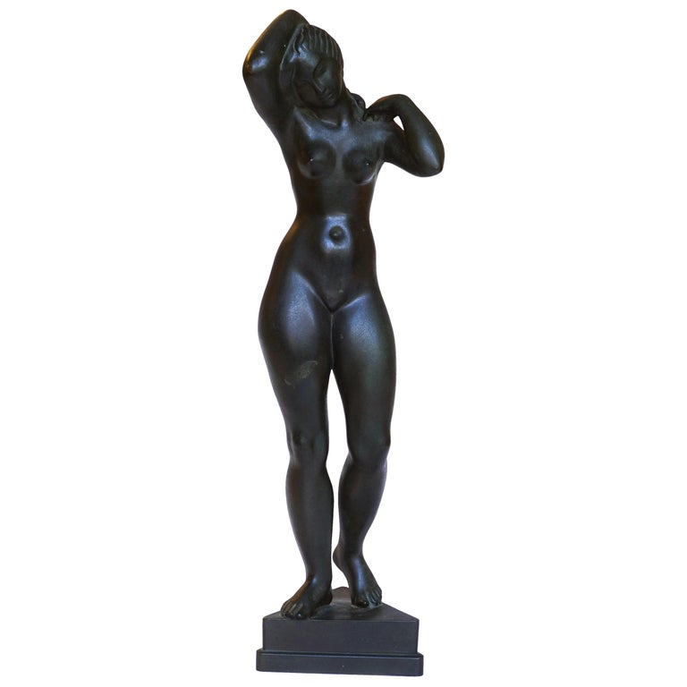 Johannes C. Bjerg Modern Bronze Stauette of a standing Woman, Designed 1916 For Sale