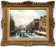 Skaters on a Frozen Canal, Oil on Panel Painitng
