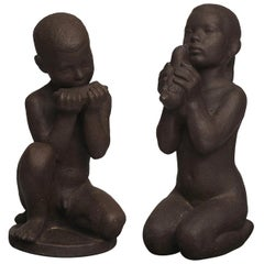 Johannes Hansen for Knabstrup, Pair of Large Ceramic Figures, a Boy and Girl