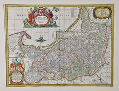 A Hand Colored 17th Century Janssonius Map of Prussia: Poland, N. Germany, etc.