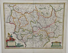 Original Hand Colored 17th Century Map of West Germany by Johannes Janssonius