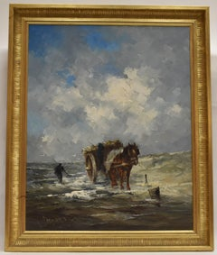 Horse and carriage at sea - oil on canvas, dutch artist, landscape, naturalistic