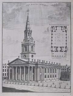 Johannes Kip St Martin in the Fields Church engraving London Trafalgar Square
