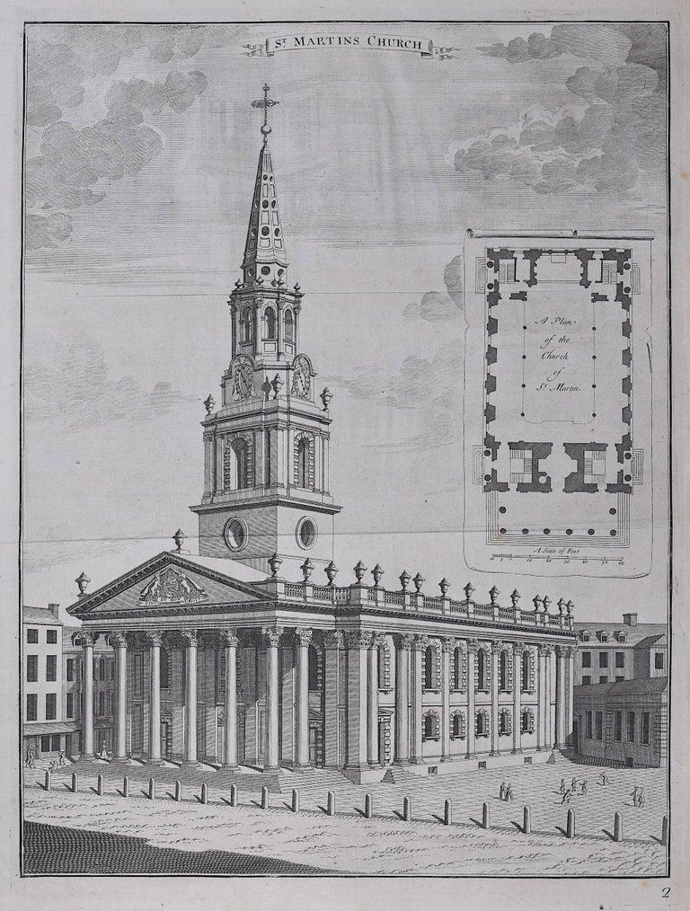 Johannes Kip St Martin in the Fields Church engraving London Trafalgar Square - Print by Johannes Kip