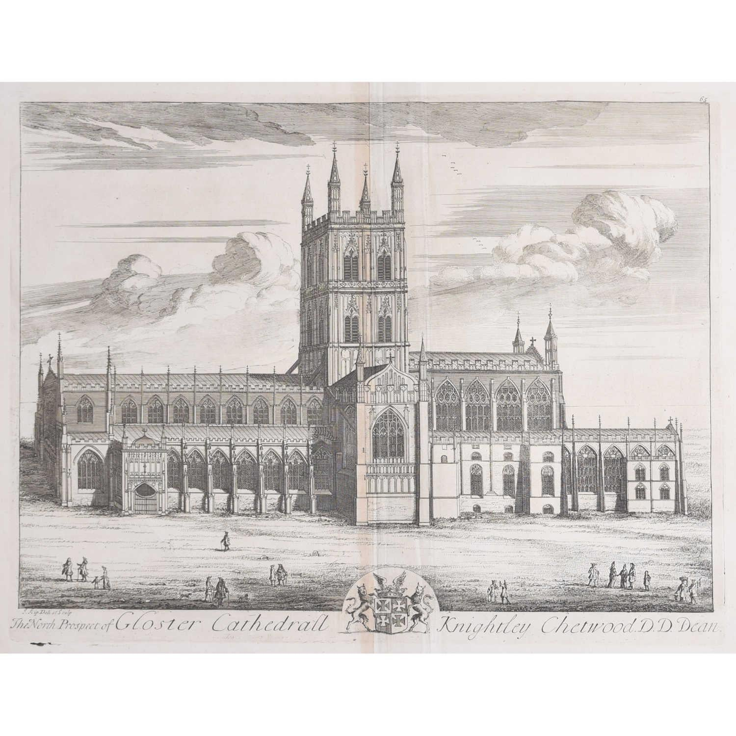 Johannes Kip, The North Prospect of Gloster Cathedral (c.1716) Copper Engraving