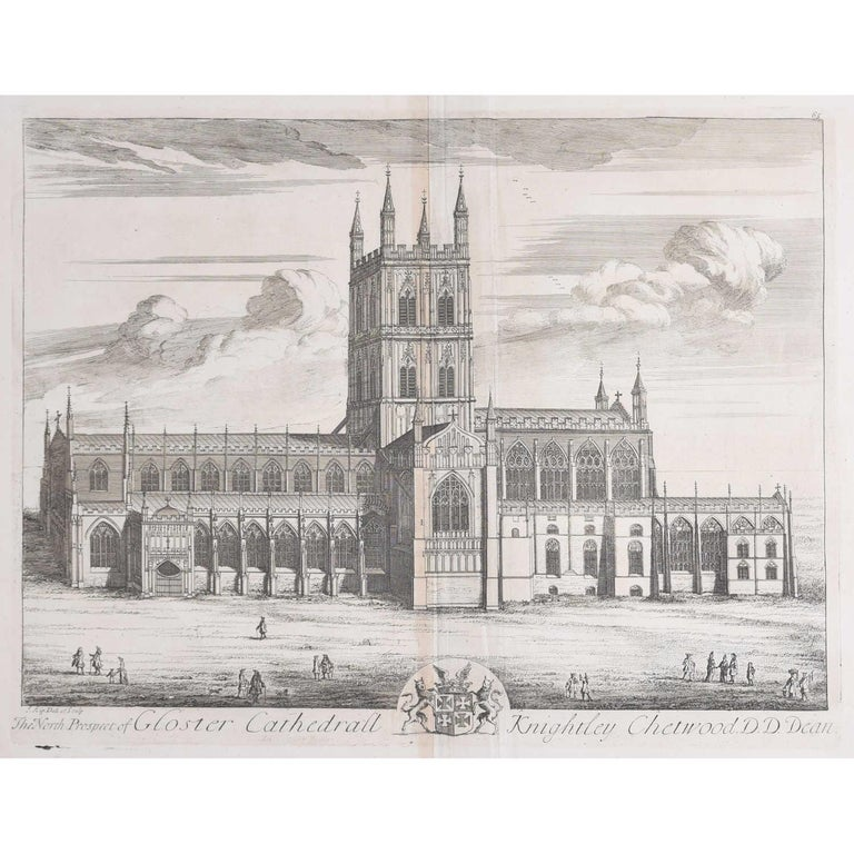 Johannes Kip, The North Prospect of Gloster Cathedral (c.1716) Copper Engraving - Print by Johannes Kip