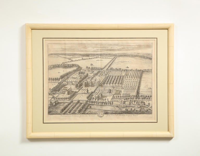 Set of Ten Views of Country Houses from the Britannia Illustrata - Beige Print by Johannes Kip